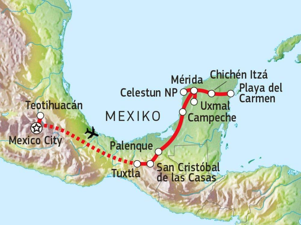 191A30050 Chiapas & Yucatán im Linienbus erfahren Karte