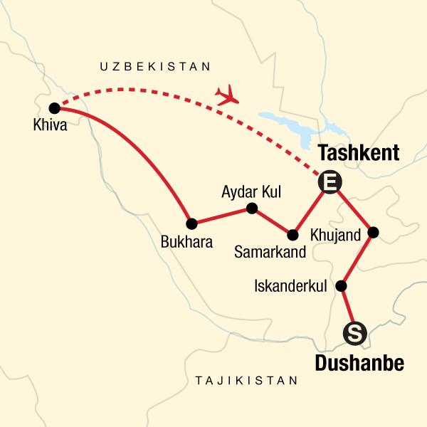 Beste von Tadschikistan & Usbekistan Karte