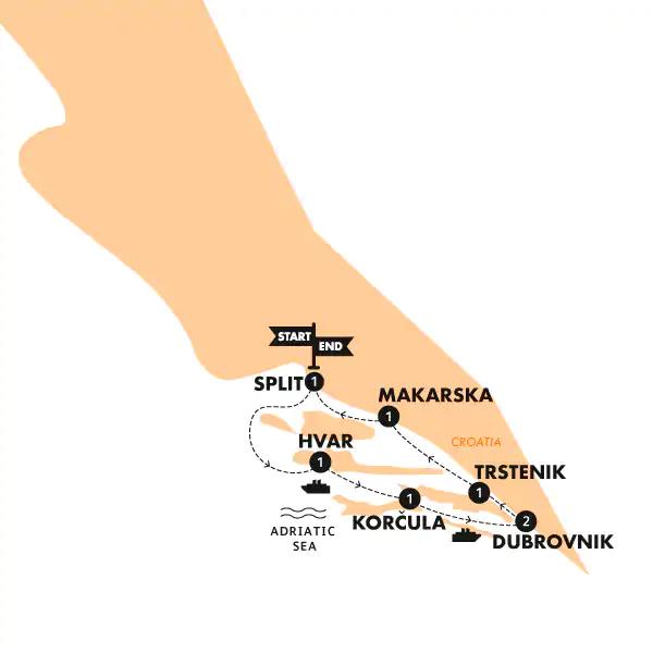 Kroatien Island Cruising Karte