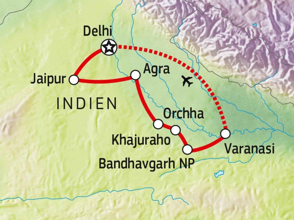 180T20010 Nordindien entdecken Karte