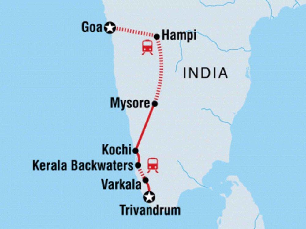 131Y21148 Mit dem Rucksack durch Südindien Karte