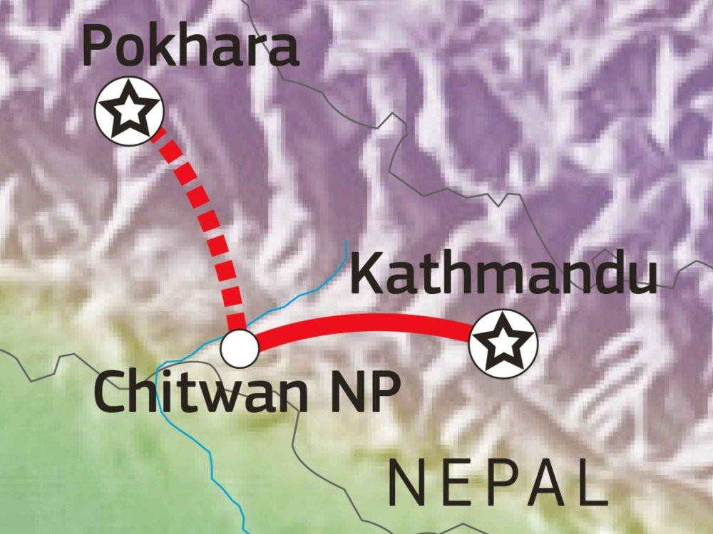 161Y30040 Abenteuer Chitwan Nationalpark Karte