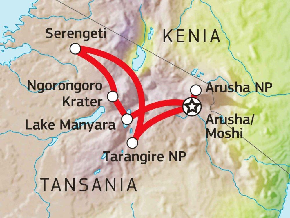 140S11005 Tansania Lodge Safari V Karte