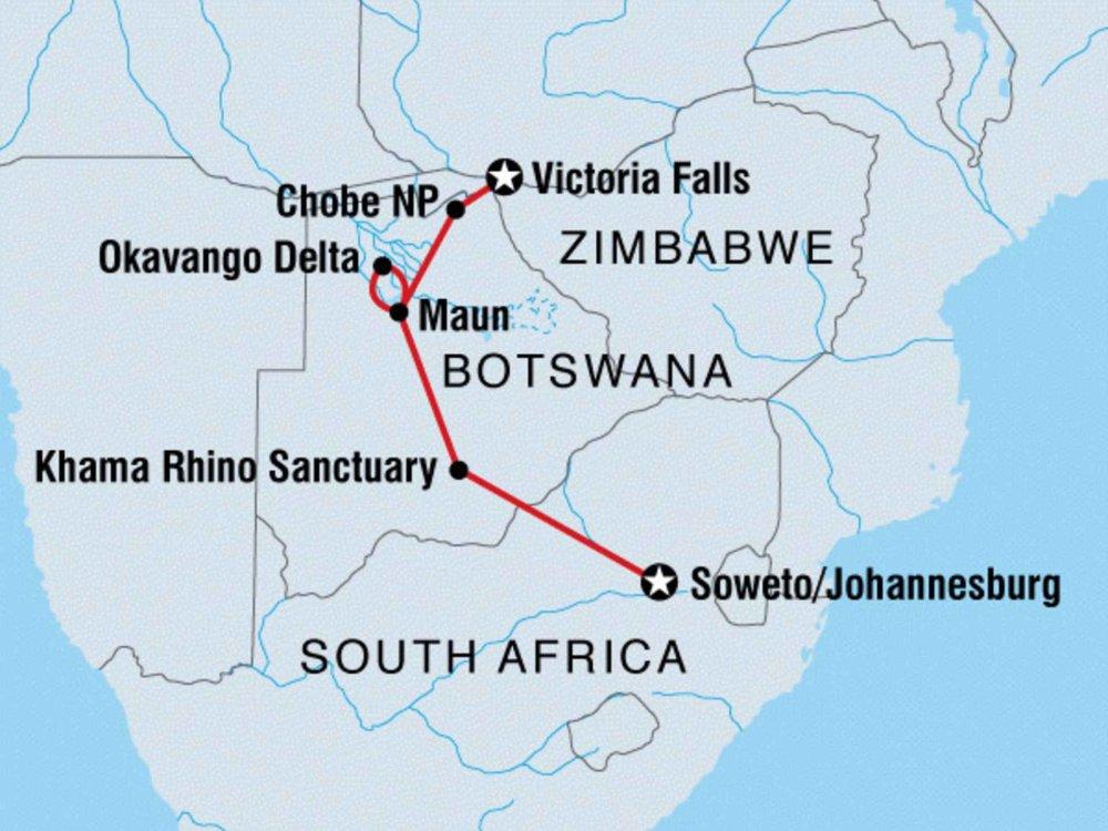 122Y60090 Okavango, Chobe & Vic Falls Karte