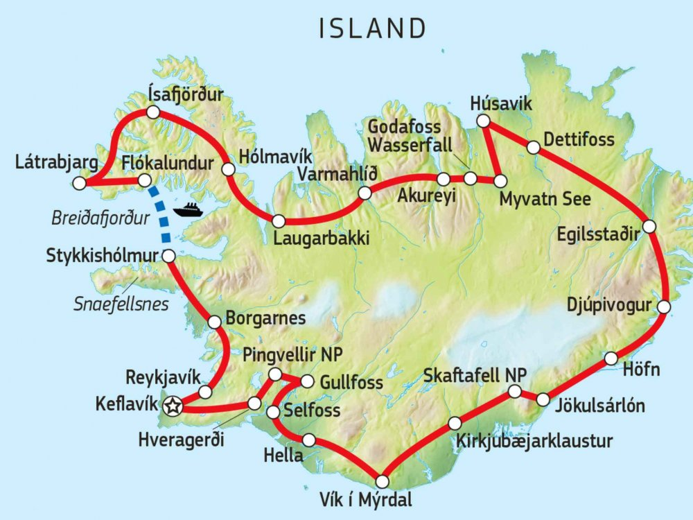 Island-Umrundung inkl. Westfjorde Karte