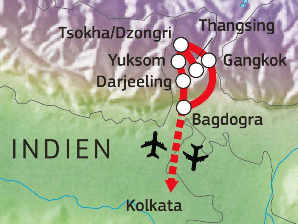 180Y10003 Sikkim & Darjeeling Trekking Karte