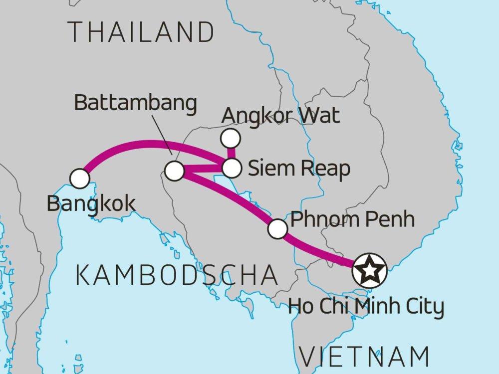 Straße nach Angkor Karte