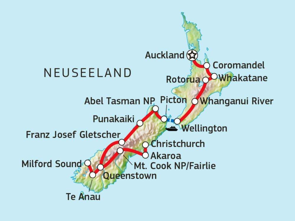 101S21003 Neuseeland Naturreise - Fjorde, Vulkane & Begegnungen Karte