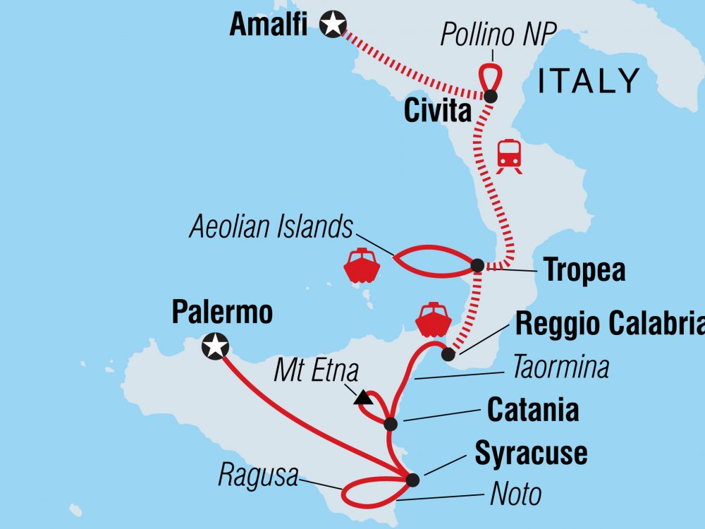 Höhepunkte Kalabrien Sizilien Karte