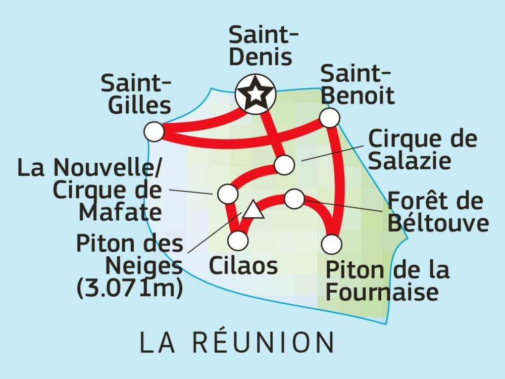 Inseltrekking La Reunion Karte
