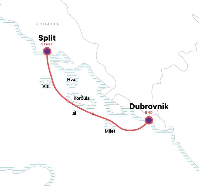 Kroatien Segeltörn - Von Split nach Dubrovnik Karte