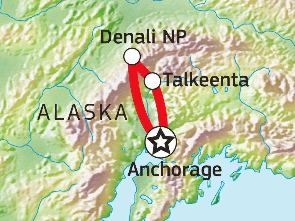 187B10006 Wildnistrekking Denali Nationalpark Karte