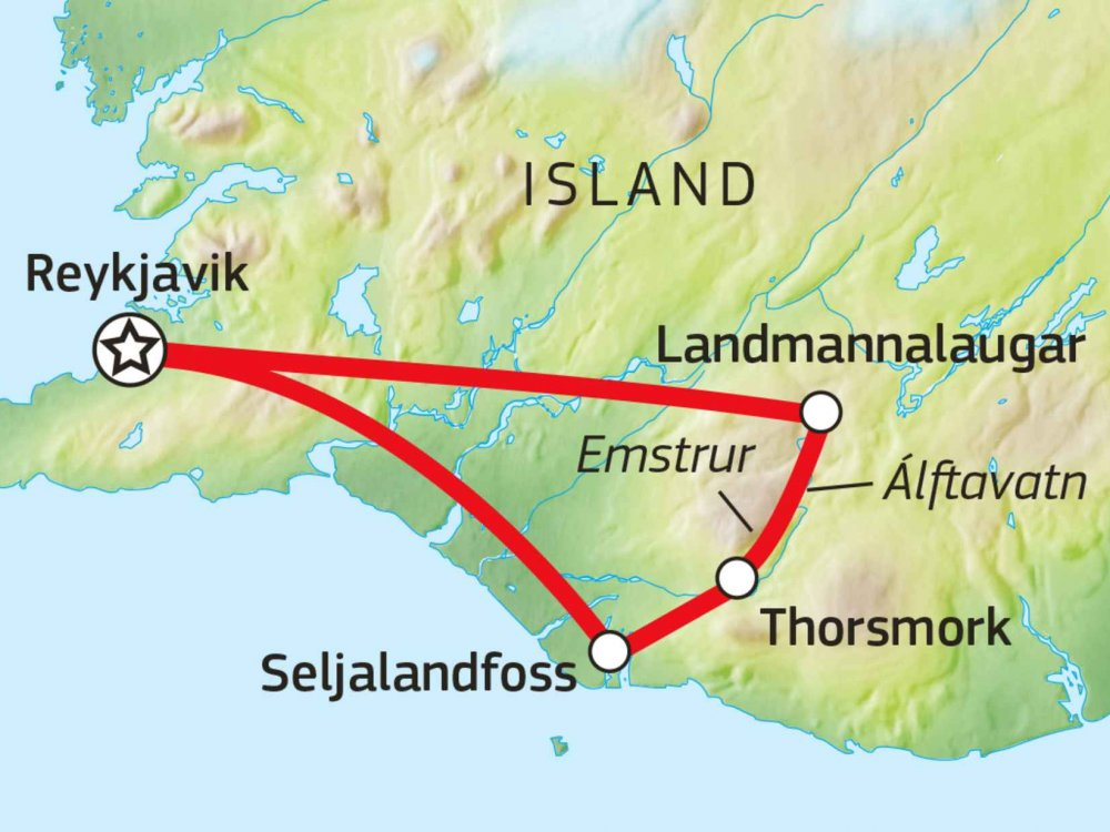 145G10001 Trekking auf dem Laugavegur Karte