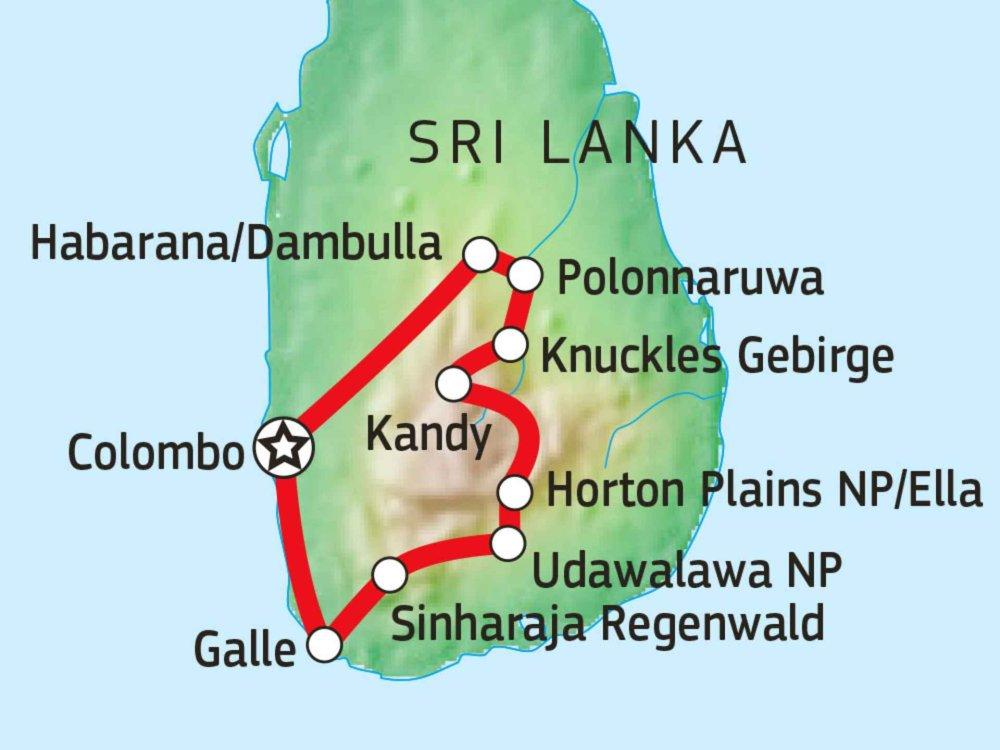 154C31001 Wanderabenteuer und Kulturschätze Sri Lankas Karte