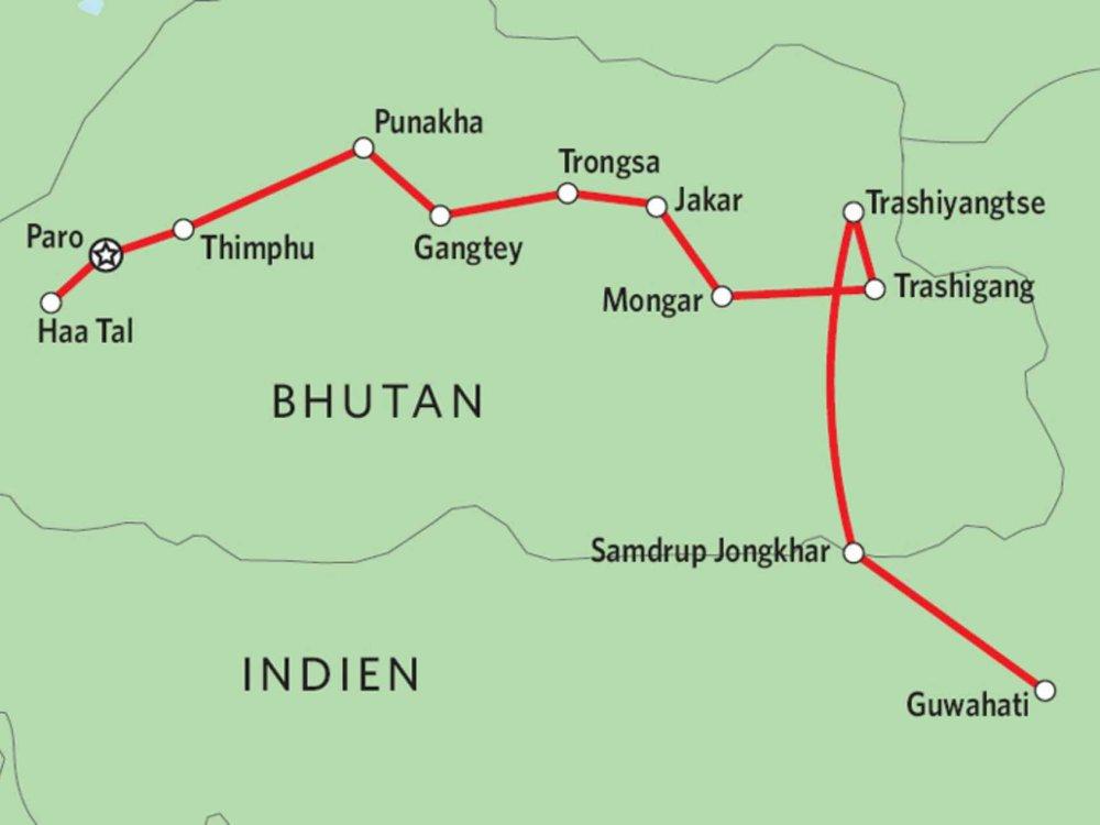 169Y10002 Bhutan intensiv Karte