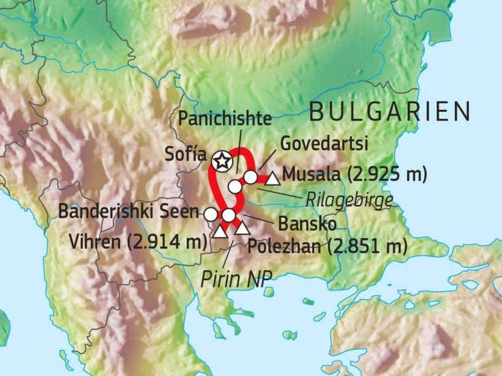 137B10010 Bulgariens Berglandschaften Karte