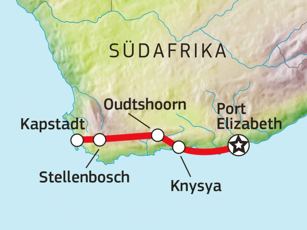 155Y00004 Südafrika - Highlights des Südens Karte