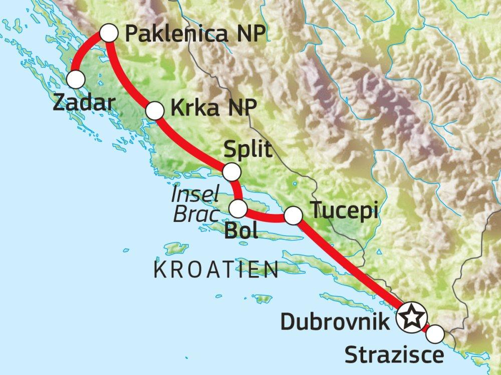 Kroatien Wanderreise Karte