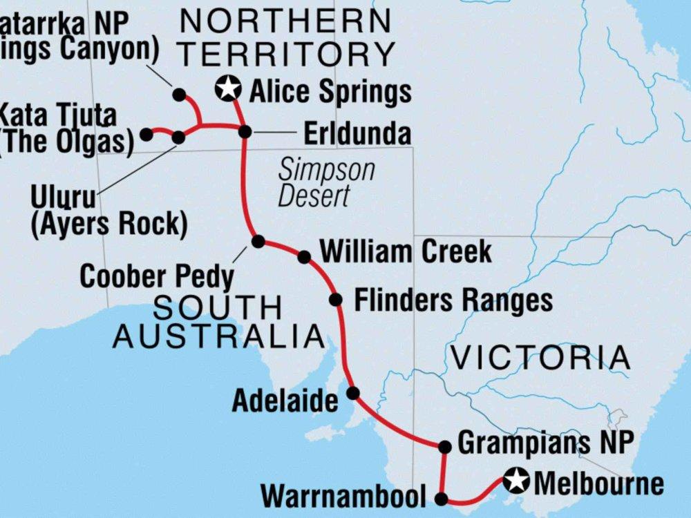 104Y20044 Erlebnisreise von Alice Springs nach Melbourne Karte