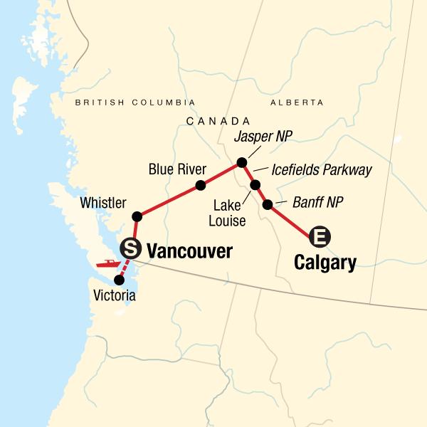 Von Vancouver nach Calgary Karte