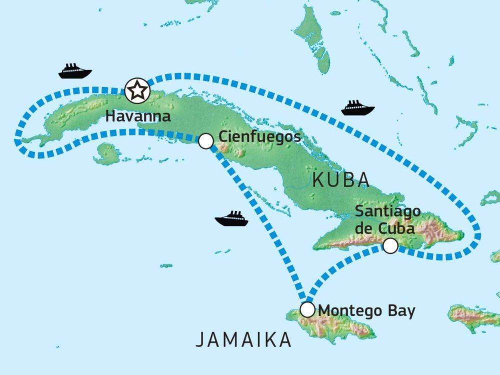188C12008 Karibikkreuzfahrt zwischen Salsa und Reggae Karte