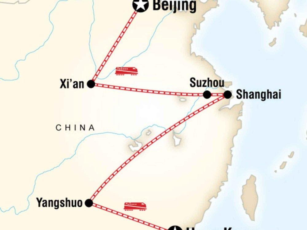 130Y50034 China on a Shoestring - Von Peking nach Hongkong Karte