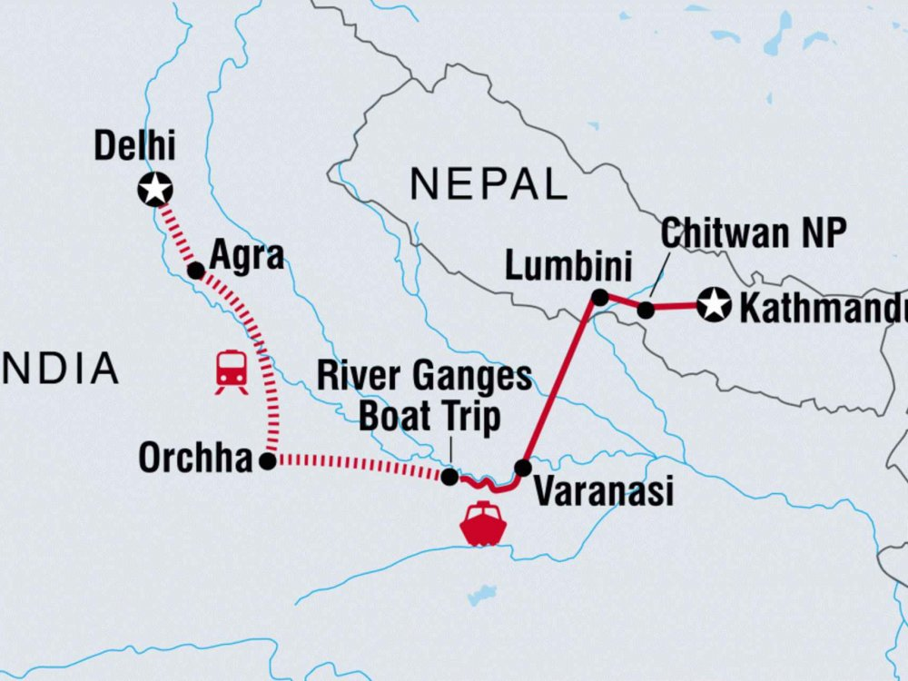 122Y60143 Von Kathmandu nach Delhi Karte