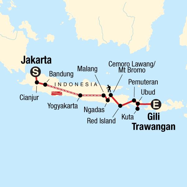 Java Bali Abenteuerreise Karte