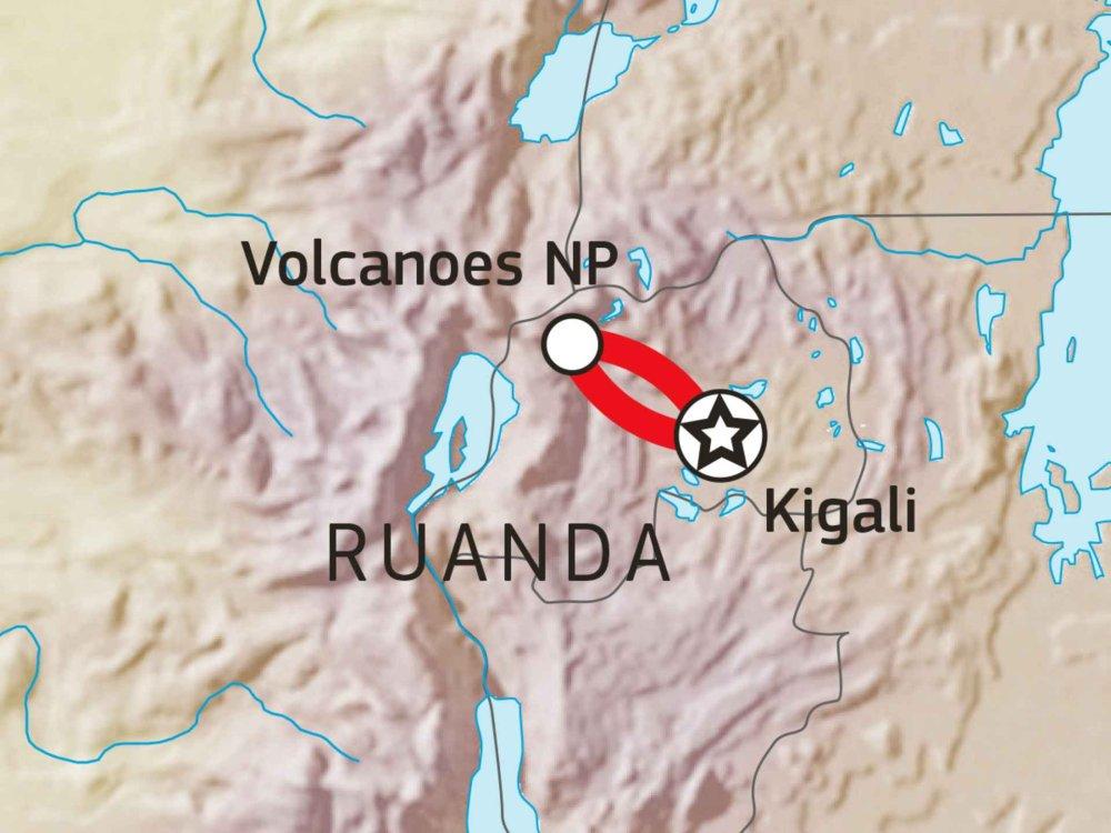 196Y00002 Ruanda - Gorillas im Nebel Karte