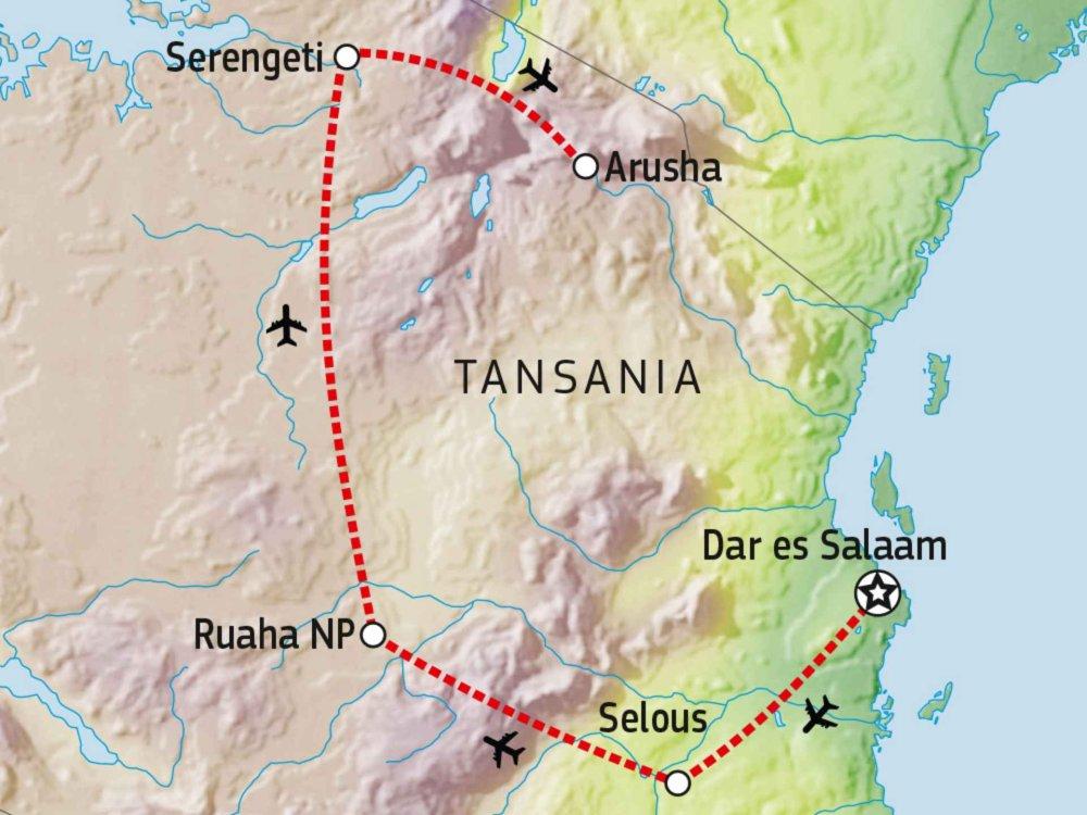 143Y10008 Tansania Big Three: Selous, Ruaha & Serengeti Karte