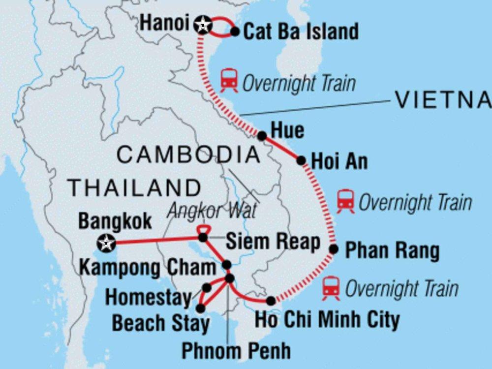 131Y21139 Abenteuerreise Vietnam und Kambodscha Karte