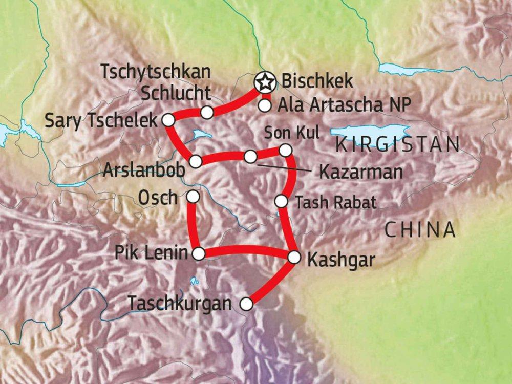 178Y20005 Kirgistan & Kashgar - Jeep Adventure Karte
