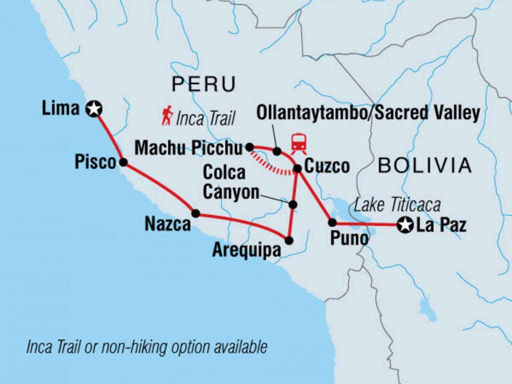 122Y60423 Essential Peru - Lima nach La Paz Karte
