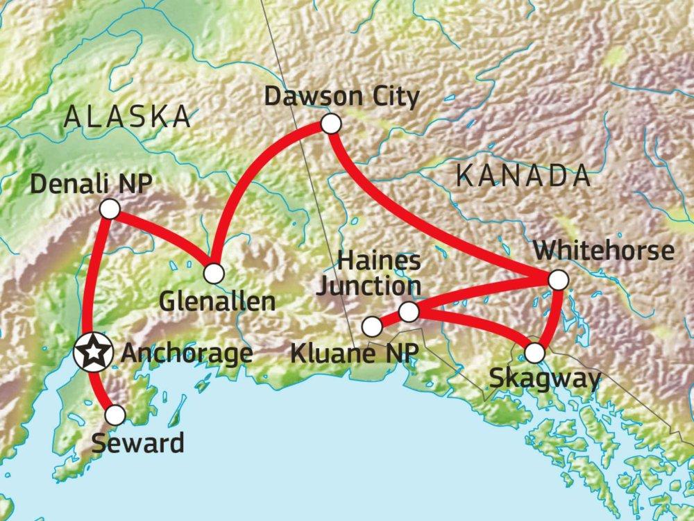 187Y31006 Naturerlebnisreise Alaska und Yukon Karte