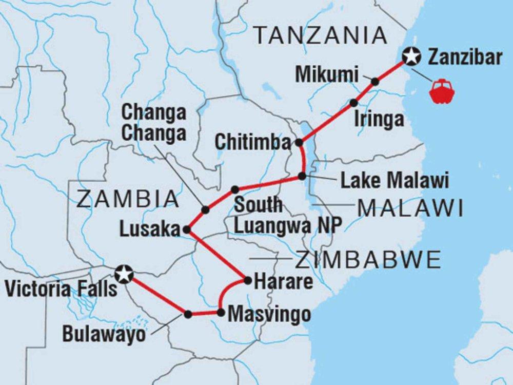 122Y60500 Sansibar & Victoria Falls Karte