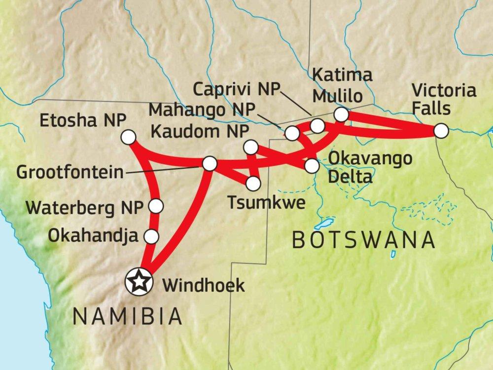 155Y31011 Buschmannland, Caprivi & Botswana Lodge Safari Karte