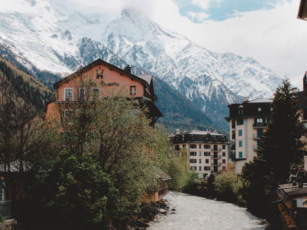 Bergort Chamonix am Fuße des Mont Blanc
