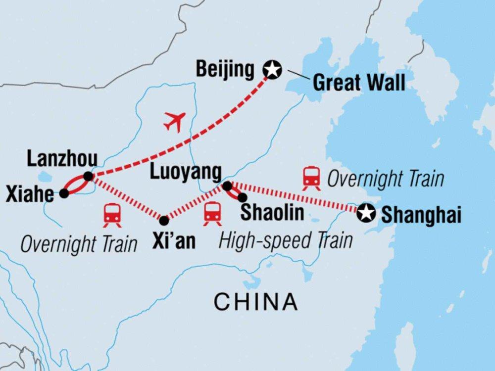 122Y20073 Von Shanghai nach Peking Karte