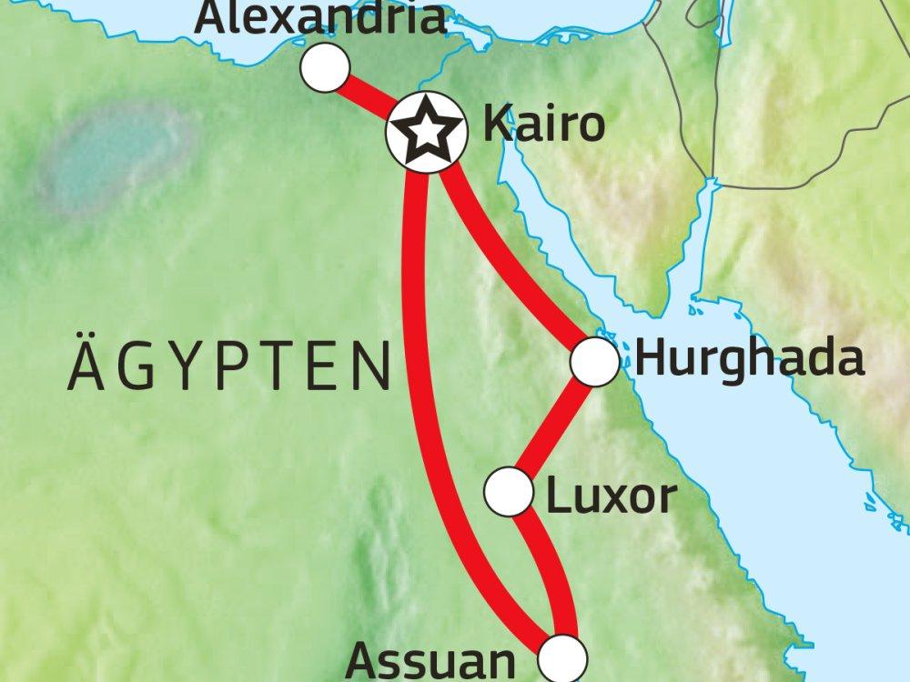 Erlebnisreise durch Ägypten mit Segelkreuzfahrt Karte