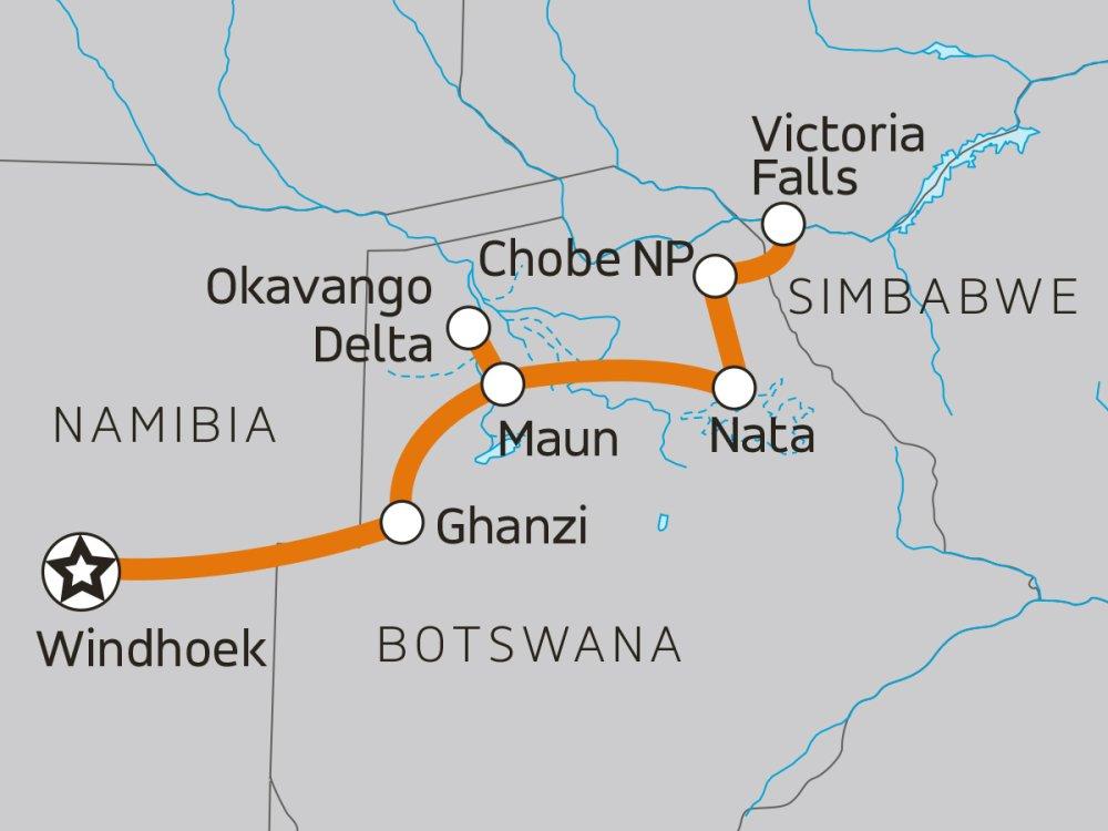 Abenteuer Okavango & Chobe Karte