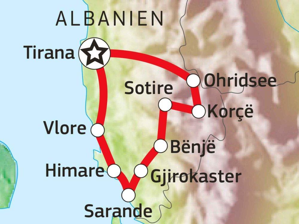 137B30020 Radreise durch den Süden Albaniens Karte