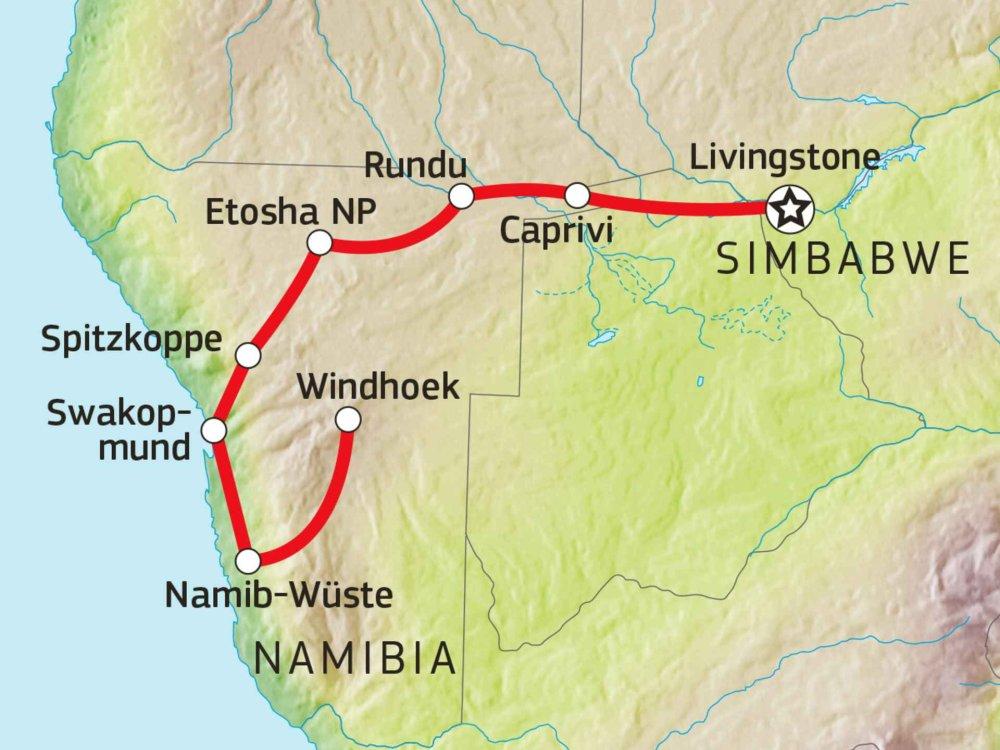 126Y10026 Namibias Wüste & Caprivi Karte