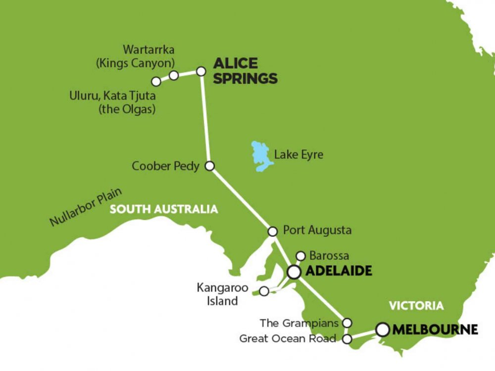 102A10055 Alice Springs - Melbourne Tour inkl. Kangaroo Island & Barossa Valley Karte