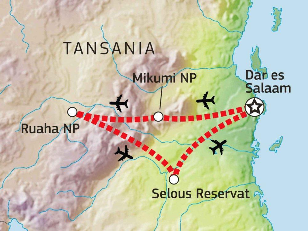 143Y10006 Safari Süd-Tansania: Mikumi, Ruaha & Selous Karte