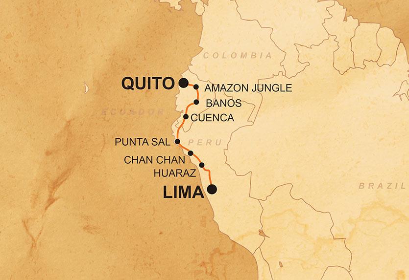 Ecuador & Peru Discoverer Karte