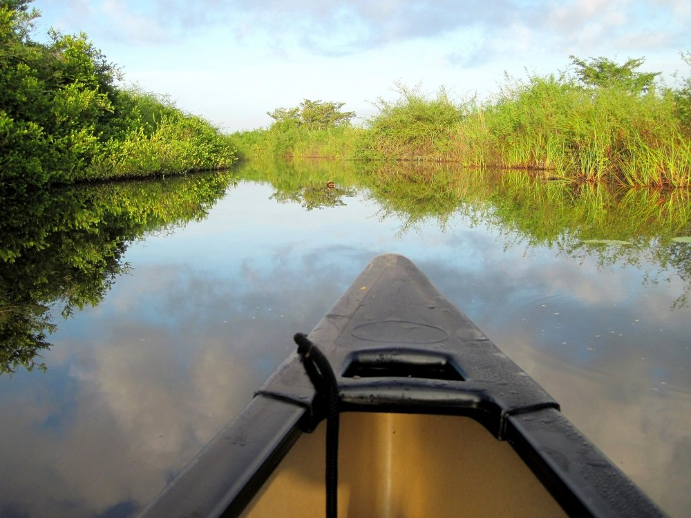 Kanu auf dem New River in Lamanai