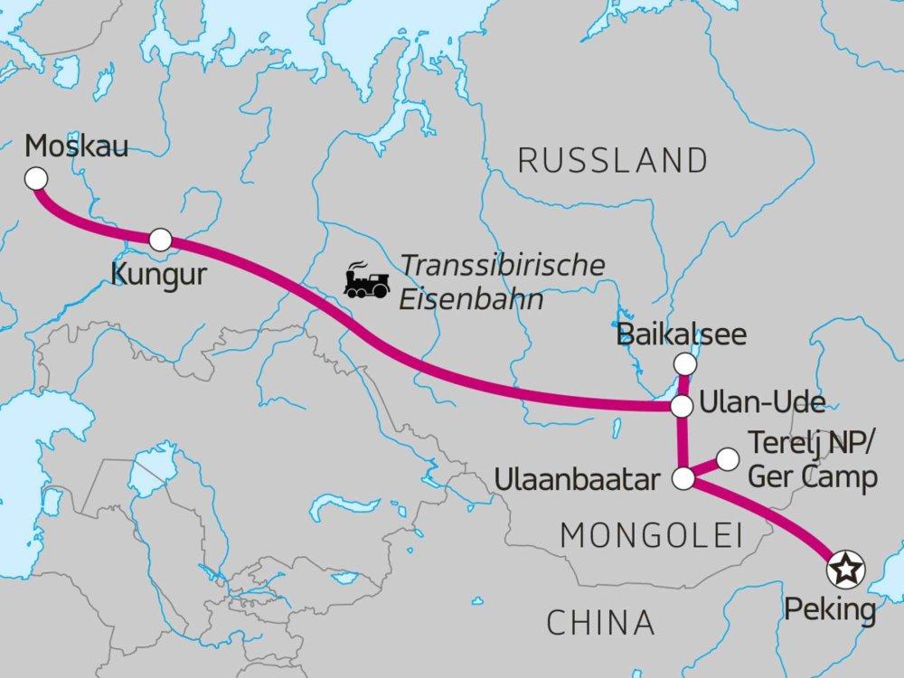 Transsibirische Eisenbahn von Peking nach Moskau Karte