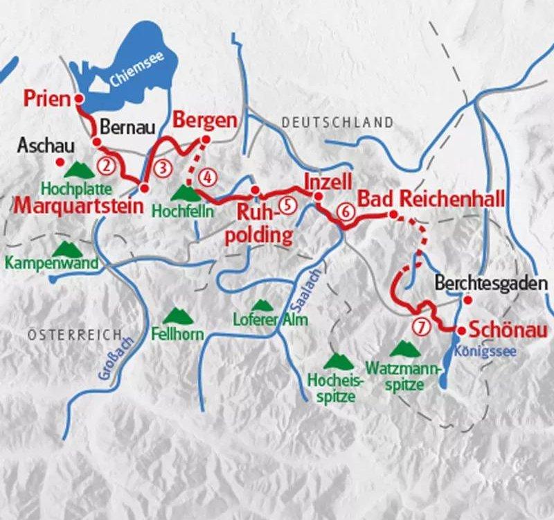 Karte Salzalpensteig Chiemsee Koenigssee