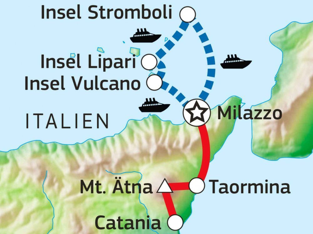 Wandern auf den Vulkaninseln Sizilien Karte
