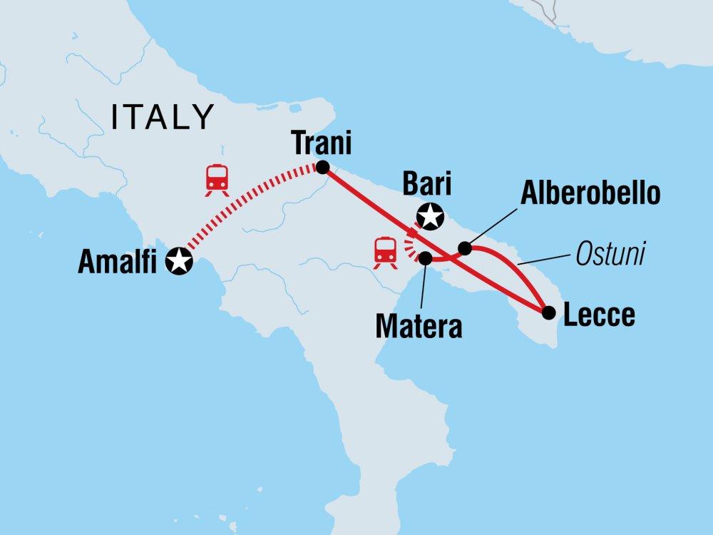 Vielfältiges Apulien in Süditalien Karte